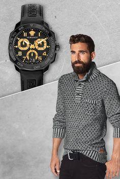 """Versace Chronograph """"Dylos Chrono"""" Wer etwas auf sich hält, trägt nicht irgendeine Uhr – sondern die perfekte.  Genau so ein edles Liebhaberstück liefert jetzt das italienische Designer-Label Versace mit dem """"Dylos Chrono"""" in schwarz und goldfarben. Eine gelungene Kombination aus Edelstahl, Saphirglas, Leder und vielen Details – für Männer,  die das Besondere suchen!"""