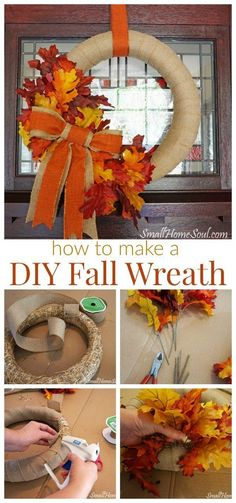 DIY Fall Wreath Tutorial You are in the right place about DIY Wreath ribbon Here we offer you the most beautiful pictures about the DIY Wreath kids you are looking for. When you examine the DIY Fall W Easy Burlap Wreath, Easy Fall Wreaths, Diy Fall Wreath, Wreath Crafts, Fall Diy, Wreath Ideas, How To Make Wreaths, Make Your Own Wreath, Burlap Crafts