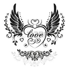 tattoo designs: Black wings with decorative heart and leafs, illustration isolated on white Illustration