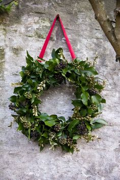 Leafy berried Ivy Christmas Wreath