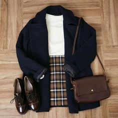 Check out this Gorgeous korean fashion outfits Mode Outfits, Casual Outfits, Fashion Outfits, Fashion Ideas, Fashion Clothes, Plaid Skirt Outfits, Checked Skirt Outfit, Preppy Outfits For School, Blue Plaid Skirt