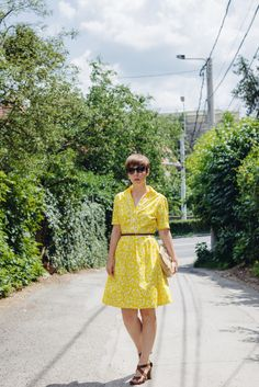 Yellow dress brown sandals
