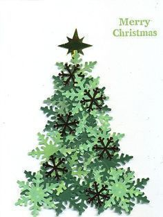 Paper Christmas tree made with snowflake punch and different shades of green paper. – from Cards and Paper Crafts at Splitcoaststampers – Desirees Tree by scootsv – Paper Christmas tree… Diy Christmas Cards, Christmas Scrapbook, Noel Christmas, Homemade Christmas, Paper Christmas Trees, Christmas Ideas, Paper Tree, Paper Paper, Xmas Cards Handmade