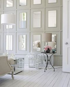 mirror molding wall for dining room Home Interior, Interior Decorating, Stylish Interior, Decorating Ideas, Decorating Tall Walls, High Ceiling Decorating, Interior Mirrors, Bathroom Interior, Modern Bathroom