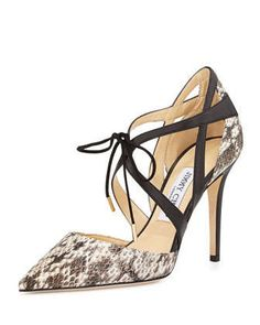 Lapris Snakeskin Ankle-Wrap Pump, Natural/Black by Jimmy Choo at Neiman Marcus.