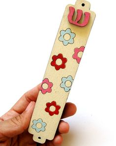 Kids mezuzah flowers pink aqua and red mezuzah for a by Shellyka, $18.00