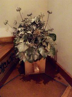 caja de madera para pjaros con flores secas