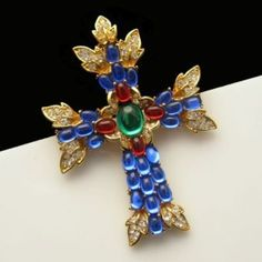 Trifari Large Cross Brooch Pin Pendant Blue Red Green Glass Rhinestones