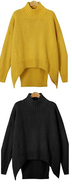 Chic stylish cut  casual loose sweater in mustard yellow/ black colors at only $22.99. Click on the picture to see details