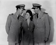 """Dennis O'Keefe, Susan Hayward and John Wayne publicity still for """"The Fighting Seabees"""""""
