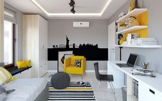 Family House - Interior Design on Behance Yellow Room Decor, Boys Room Decor, Bedroom Decor, Boys Room Design, Long House, Furniture Inspiration, Home Interior Design, Furniture Design, Decoration