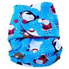 Little Fancy Pants - Blue Santa, Penguin, Reindeer - Cloth Diapers - Cotton Babies Cloth Diaper Store