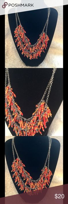 Simply Vera Wang Gorgeous Necklace !  Simply Vera Wang ! Beautiful 2 strands ! Silver tone chains ! Various shades of orange beads ! Beautiful for you or as a gift !  Simply Vera Vera Wang Jewelry Necklaces