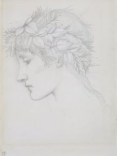 Edward Burne-Jones, Head crowned with leaves, c.1897