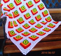 Crochet mitered granny square blanket by Katarina D
