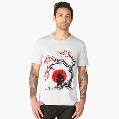 Goku Old Japanise Poster Cherry Tree Vegeta Men's Premium T-Shirt Front