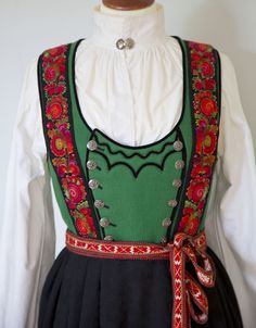 Bunad from Tinn Ethnic Dress, Folk Costume, Traditional Dresses, Scandinavian Design, Norway, Couture, Style Inspiration, Indian, Folklore
