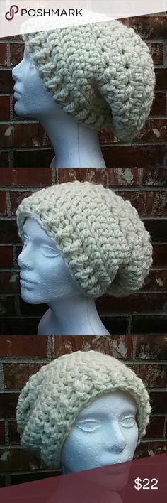 "Hand made alpaca blend slouchy beanie Thick 20% alpaca yarn. Color is natural beige. Front opening is 22"" and length from brim to back is 11"". Accessories Hats"