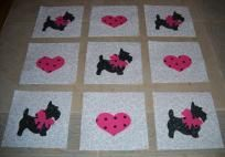 9 Black Scottie Dogs w/Pink Bows and Hearts Quilt Blocks ...Free Shipping...