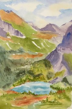 """""""Grinnell Lake"""", $125.00, original watercolor painting."""
