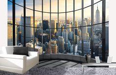 Een kantooruitzicht in je kamer met dit #fotobehang NY Office View.