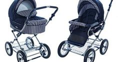 Roan Kortina Classic Pram Stroller 2-in-1 with Bassinet and Seat – Navy – Chequered