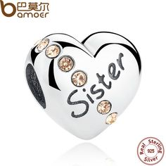 BAMOER 2016 New Trendy 925 Sterling Silver Sister Floating Heart Charm fit Bangles Jewelry Making Family Gift SCC008