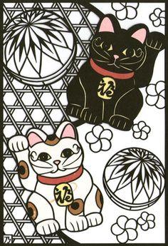 招き猫の切り絵/にょり | イラスト投稿ならすぴばるイラスト部 もっと見る
