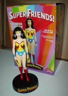 "Super Friends! Wonder Woman 9 1/8"" Maquette by DC Direct. $99.95. DC Direct continues the line of SUPER FRIENDS! maquettes with Wonder Woman! The SUPER FRIENDS! MAQUETTES feature the heroes as they appeared on the legendary Super Friends! animated TV series that aired on network television from 1973 to 1986. Sculpted by Karen Palinko, the SUPER FRIENDS! WONDER WOMAN maquette is a limited-edition, hand-painted, cold-cast porcelain statue measuring approximately 8.75"" tal..."
