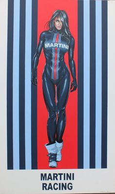 Martini Racing was founded by the Italian company Martini & Rossi, a distillery that produces Martini vermouth in Turin. Martini's sponsorship program began in The race cars are marked with the distinctive dark blue, light blue and red stripes on wh Vintage Advertisements, Vintage Ads, Vintage Posters, Martini Racing, Auto Poster, Up Auto, Girl Posters, Garage Art, Arte Pop