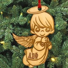 Alpha Epsilon Phi laser-engraved angel ornament with Greek letters.