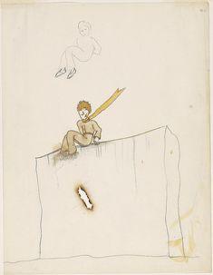 petit prince cigarette Antoine de Saint-Exupéry drawings for The Little Prince, The Morgan Library & Museum, New York, © Estate of Antoine de Saint-Exupéry. Photography by Graham S. Morgan Library, Coffee Staining, The Little Prince, Book Illustration, Art Market, New Art, Art For Kids, Original Artwork, Saints
