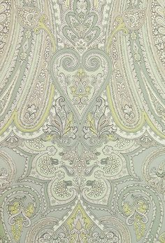 "Traditional - ""Mulberry Paisley Wallpaper Large, bold Paisley design wallpaper in Aqua, Sage Green and Cream. Paisley Design, Paisley Pattern, Paisley Print, Paisley Wallpaper, Home Wallpaper, Textile Design, Fabric Design, Pattern Design, Textiles"
