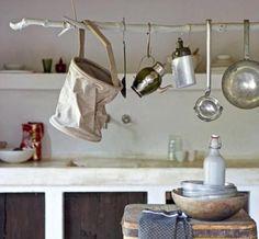 DIY branch kitchen utensil hanger.