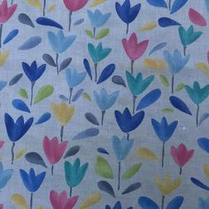 Colourful Tulip Floral White Muslin Fabric Cheese Cloth Voile Draping Dress Sew