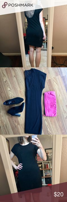 Lace Back Dress Classy black dress with lace back. Great condition! 100% merino wool Banana Republic Dresses Mini