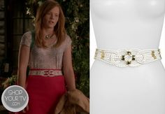 Daphne Vasquez (Katie Leclerc) wears this intricately braided, white leather stretch belt in this week's episode of Switched at Birth.
