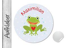 Namensaufkleber • Frosch • 24 Stück (N11) von EINER MIT PAPIER auf DaWanda.com