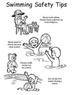 Coloring Pages For Summer Safety Select The Items That Are Safe Pool Or Beach Watersafety
