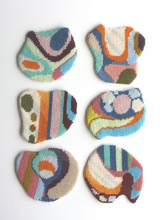 "needlepoint ""Impromptu Coasters II"" by Flickr user cresus-parpi #needlepoint #embroidery #design"