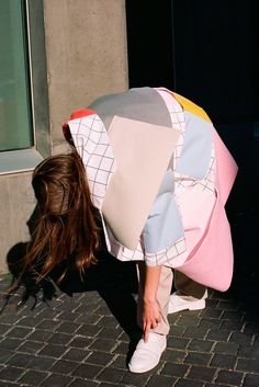 """Amazing oversized jacket with colour blocking and grid panels. Playful, quirky and sophisticated 