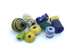 10pc Vintage Handmade Glass Bead Mix Lot-Big hole Bead