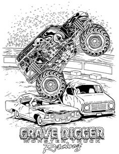 Monster truck grave digger coloring pages ~ coloriage 3 dessin Monster Truck | gadeloupe | Monster trucks, Coloriage et Fete enfant