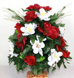 XL Spring Mixture Artificial Silk Flower Cemetery Bouquet Vase Arrangement by Crazyboutdeco on Etsy Fall Arrangements, Christmas Arrangements, Silk Flower Arrangements, Cemetery Vases, Cemetery Flowers, Artificial Silk Flowers, Best Birthday Gifts, Poinsettia, My Flower