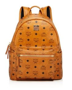 MCM Stark Small Backpack. #mcm #bags #leather #canvas #backpacks #