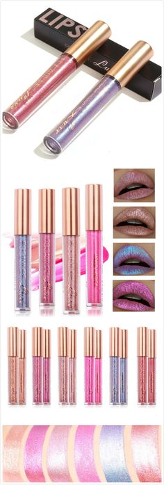 【$ 6.39】Party essential~FOCALLURE Glitter Color Temperature Change Lip Gloss Matte Diamond Sand Sexy Liquid Lipstick 6 Color