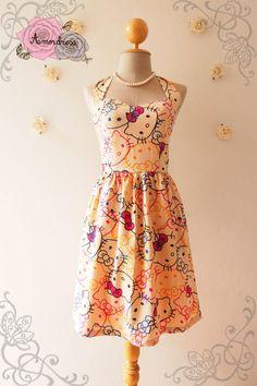 Hello Kitty Cute Sun Dress Kawaii Halter Dress por Amordress