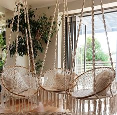 The 8 Best Macrame Hanging Hammock Chairs - Doesn't this look like the perfect chillout zone? 😎 * * Discover the top 8 best selling and b - Macrame Hanging Chair, Macrame Chairs, Diy Hanging, Indoor Hanging Chairs, Hanging Lanterns, Macrame Design, Macrame Art, Macrame Projects, Macrame Knots