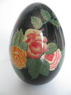 Reverse Painted Blown Glass Egg // Fenton Egg by greenleafvintage1, $175.99