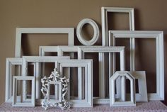 VINTAGE Open Picture Frames LARGE Set of 14 by heartsncrafts, $120.00